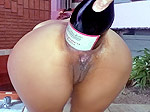 Champagne bottle anal fuck